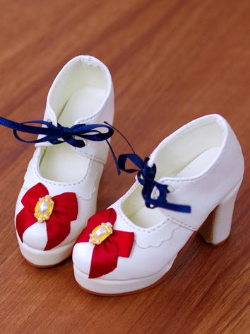 Bjd 1/3 Girl Shoes White/Wine Shoes for DD/SD Ball-jointed Doll