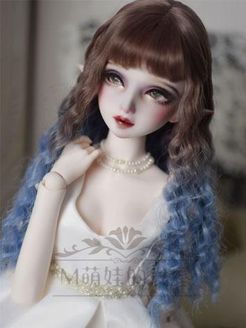 BJD Wig Girl Brown&Blue Long Curly Hair for SD/MSD/YOSD Size Ball-jointed Doll