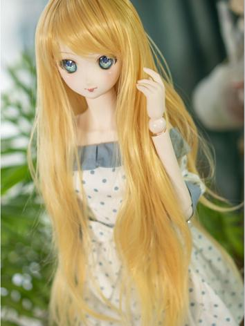 BJD Wig Girl Yellow Long Curly Hair for SD Size Ball-jointed Doll