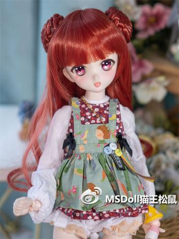 BJD Wig Girl Red/Black Long Hair for SD/MSD Size Ball-jointed Doll