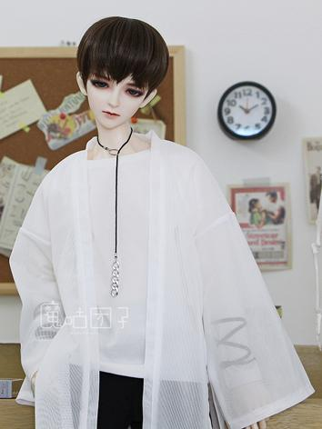 BJD Clothes Boy White Long Coat for 70cm/SD/MSD Ball-jointed Doll