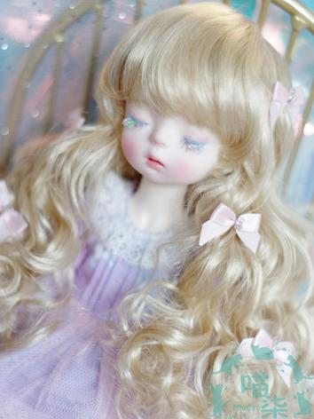 BJD Wig Girl Gold/Blue/Brow...