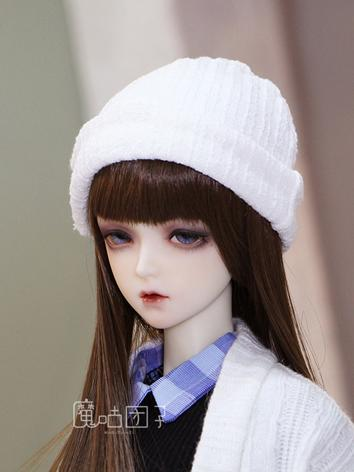 BJD Boy/Girl White/Blue Knitted Hat for SD Ball-jointed doll