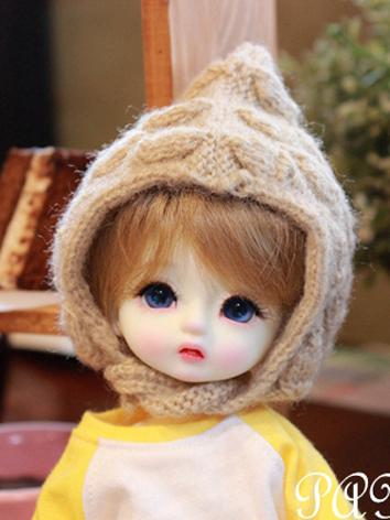 BJD Boy/Girl White/Khaki Knitted Hat for YOSD Size Ball-jointed doll
