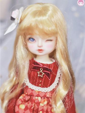 BJD Girl Wig Gold Long Curly Hair for MSD/YOSD Size Ball-jointed Doll